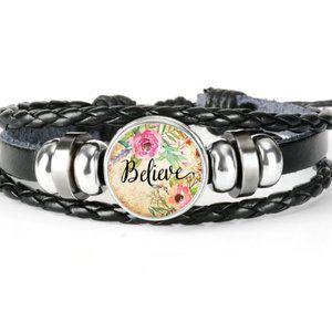 Bracelet-NEW- Leather Christian Believe Adjustable